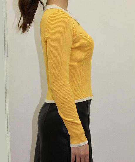 ポロ衿パイピングリブニット:4色展開