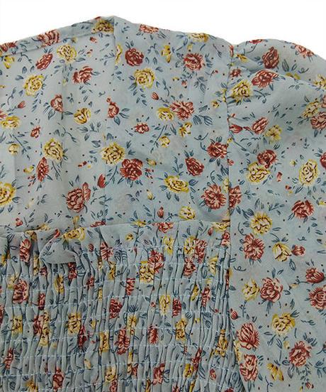 小花柄シャーリングフレアブラウス:3色展開