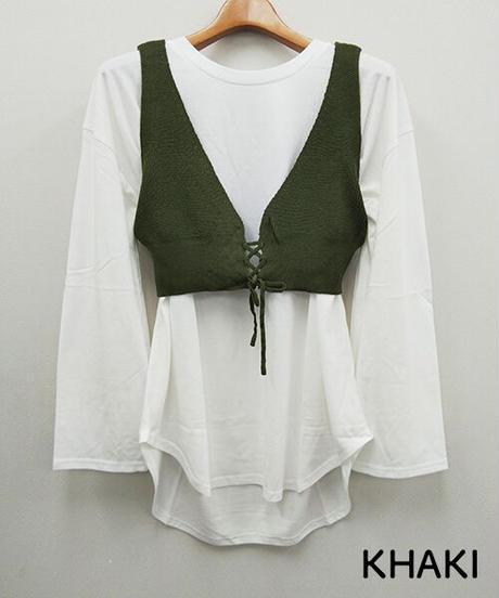 ニットビスチェ+ロングTシャツ:4色展開