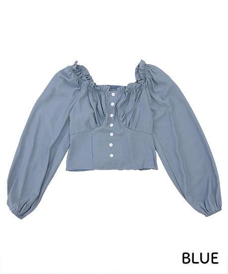 胸ギャザーバックシャーリングブラウス:2色展開