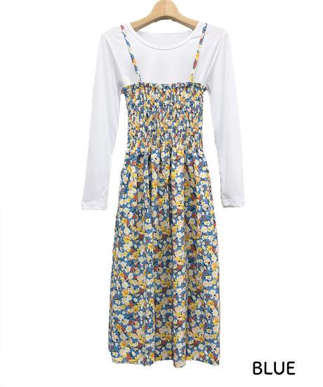 Tシャツセット花柄キャミワンピ:3色展開
