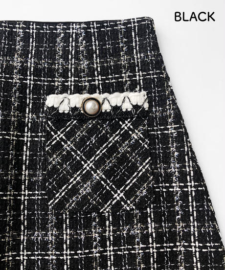 ラメ混ツイードスカート:2色展開