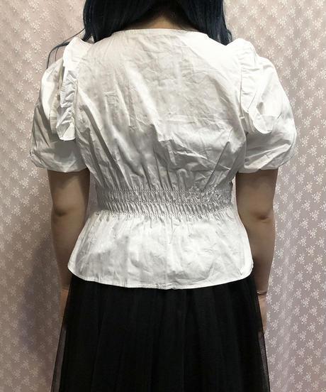 肩フリルブラウス:2色展開