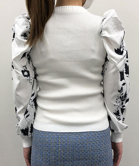 プリント袖異素材ニット:2色展開