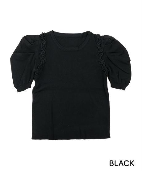肩フリルパフスリーブニット:5色展開