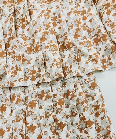 花柄ティアードプリーツスカート:3色展開