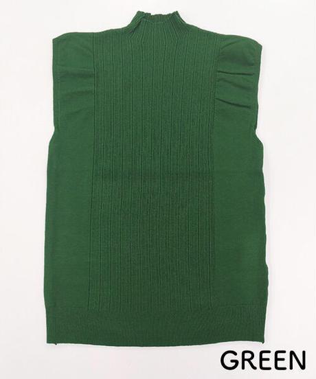 肩フリルハイネックノースリーブニット:10色展開