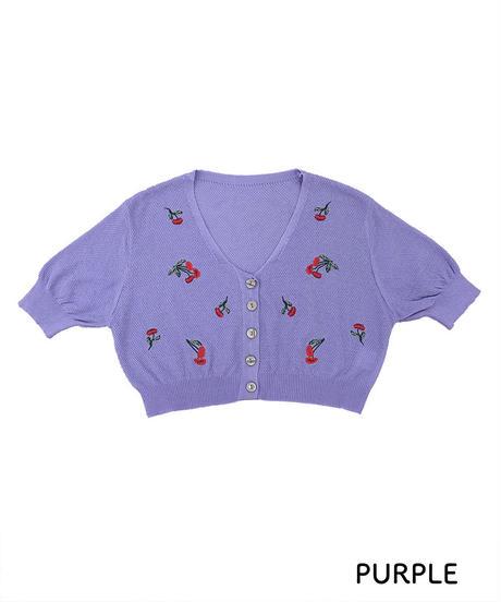 刺繍ショートカーディガン:3色展開