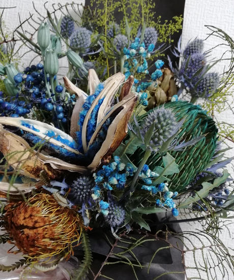 Dry flower bouquet: Blue