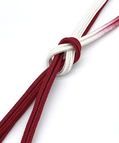 ゆるぎ組暈し手組帯締め 臙脂色×純白 [紅衣オリジナル]