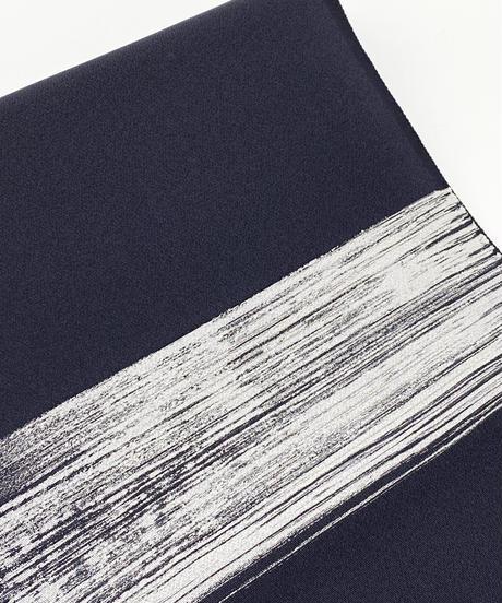 染め九寸名古屋帯 しけ引きと刺繍の融合 漆黒色 [紅衣オリジナル]