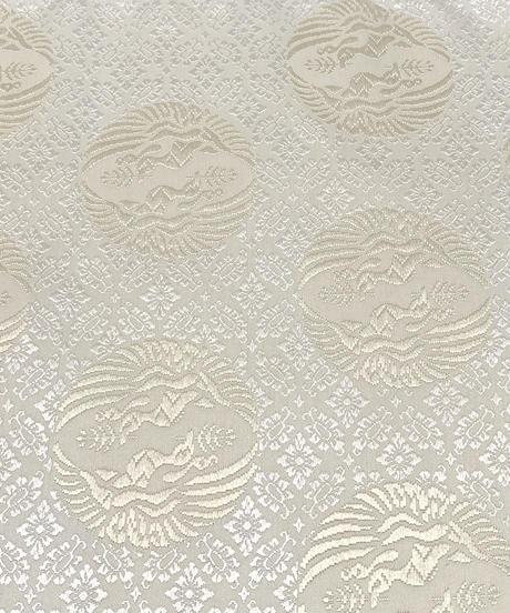 美しい唐織の袋帯 向い鶴丸紋 白×薄香色 女将紅子セレクト