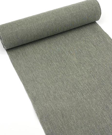 緑みがかったグレーのニュアンスカラーが大人カジュアルにぴったりな綿麻着物 ※手縫いマイサイズ