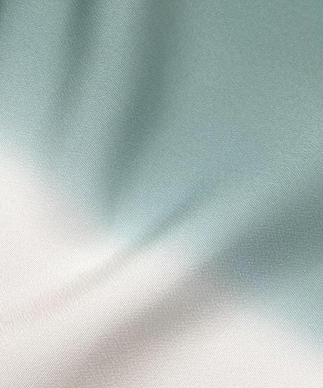 艶帯揚げ 二色暈し ウォーターグリーン×グレージュ [紅衣オリジナル]