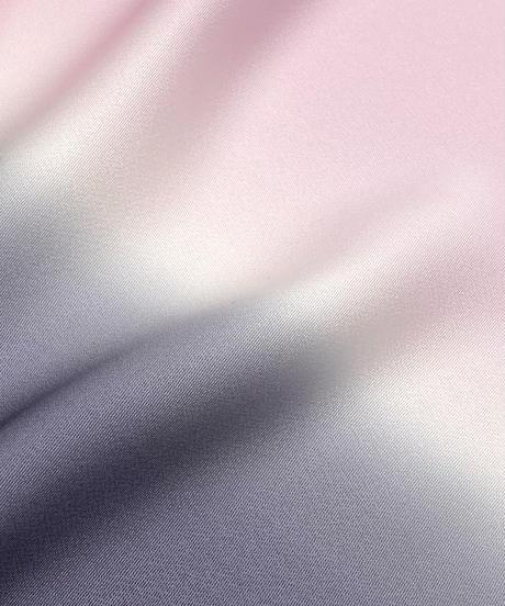 艶帯揚げ 二色暈し 藍墨茶×淡紅色 [紅衣オリジナル]