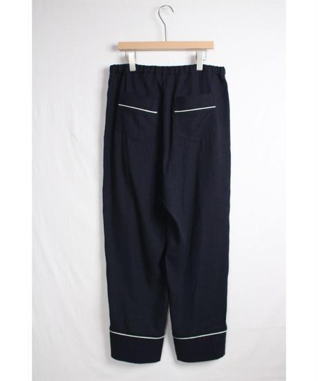 pt-25N   navy silk linen pants