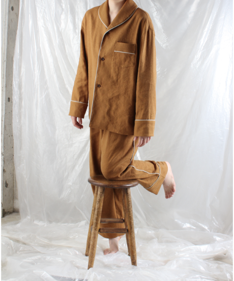 st-48C   canyon brown silk linen shirts
