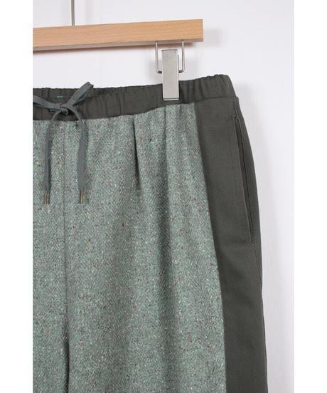 pt-28G  green wool silk pants