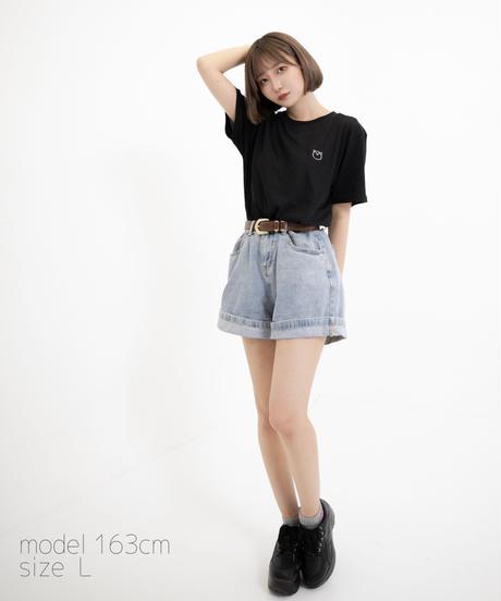 【透】ワンポイント半袖Tシャツ (marukuma) ブラック