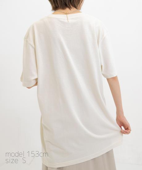 【こばしり】ワンポイント半袖Tシャツ (short hair) ベージュ