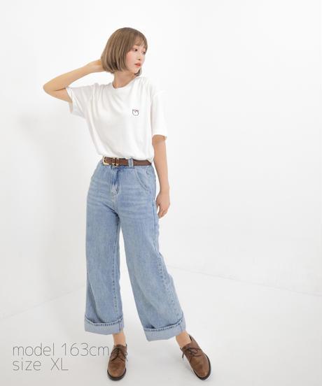 【透】ワンポイント半袖Tシャツ (marukuma) ホワイト