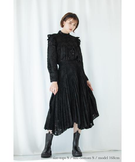 ランダムヘムプリーツジャガードスカート