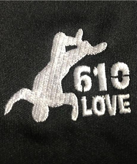 武藤敬司「610LOVE」刺繍ドライポロシャツ(黒)