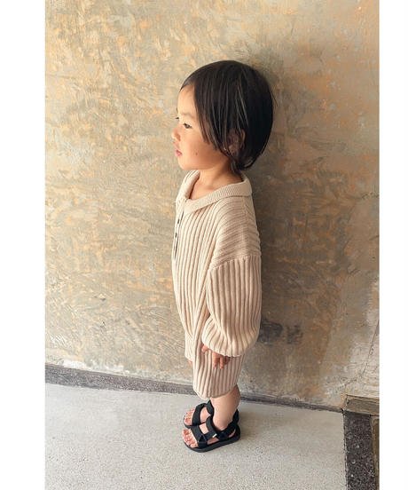 illoura the label | knit romper -Biscuit-