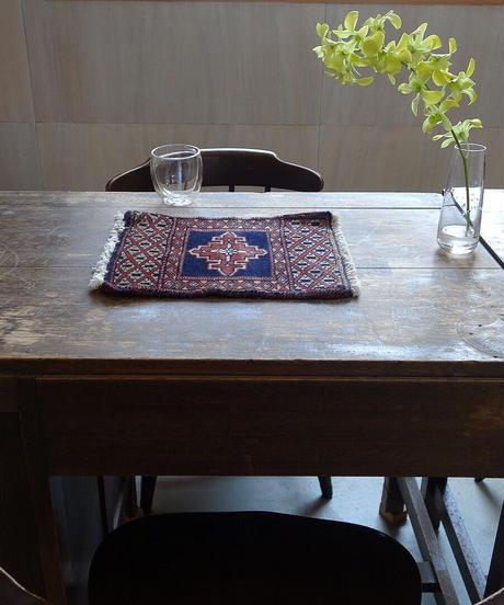 Afghanistan vintage | mini rug beige navy 32 × 28.5cm