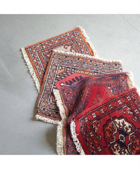 Afghanistan vintage | mini rug orange pink 29.5 × 31cm