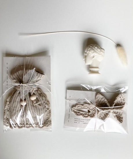 nai   embroidery minibag + butterfly bow embroidery +crochet hair pin 3点セット