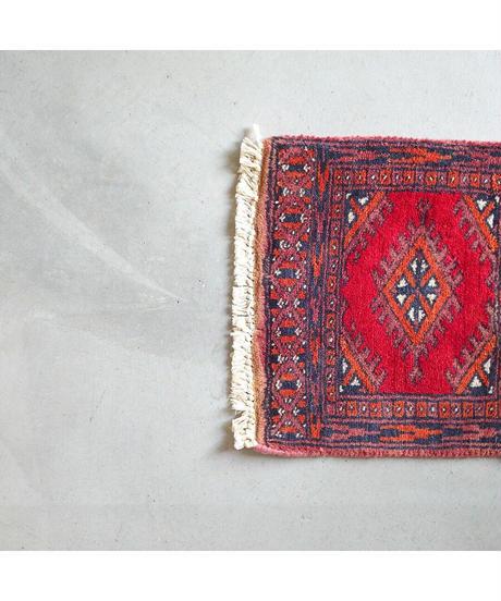 Afghanistan vintage   mini rug orange red 29 × 30cm