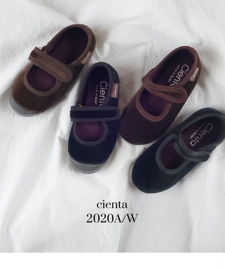 Cienta   Velcro one strap shoes velour