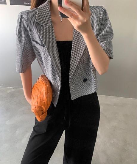 ショートジャケット×ベアトップブラックパンツオールインワン2 Piece SET 897