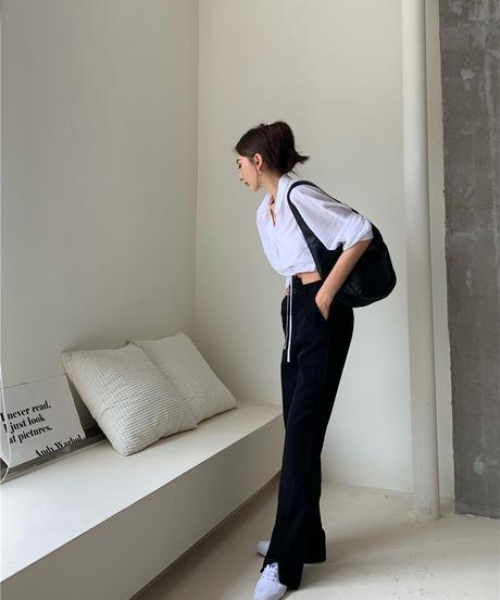 【即納品🔥】ウエストリボンショートシャツ×ハイウエストブラックパンツSET UP  751