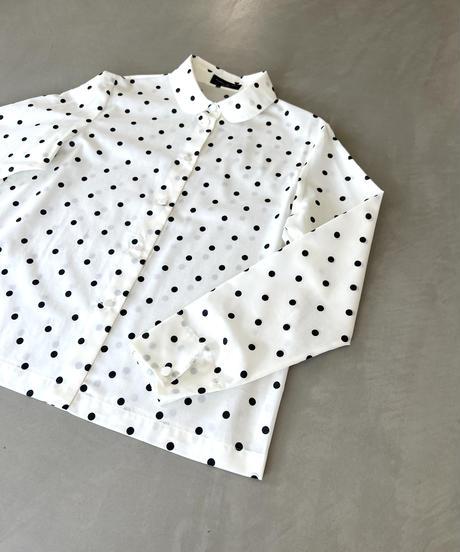 『水玉プリント 綿ローン シャツ‐ブラウス no.211①』