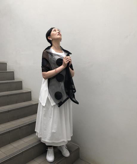 水玉シルクのストール(綿チュール)【hand made】