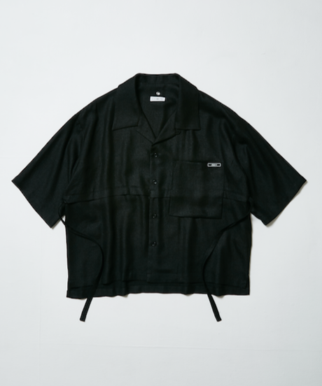 LEAF INTERSECT OPEN COLLAR SHIRT【BLK】
