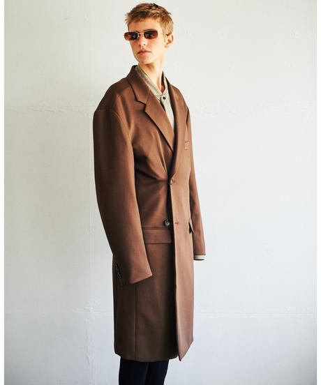 OVER-LIGHT CROMBIE COAT(Brown)