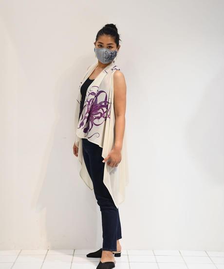 ロングジレ(クリーム/紫キセログラフィカ柄)