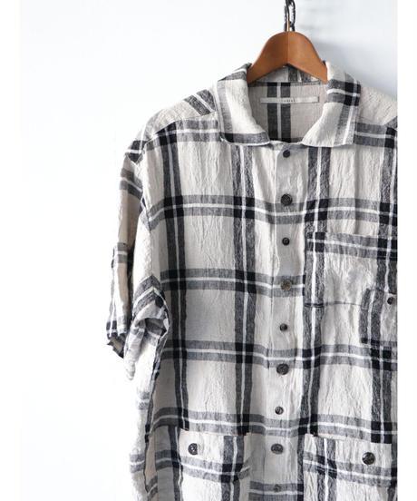 Vital / VT-2015 / Check Pocket Half Sleeve Top / BK/BG