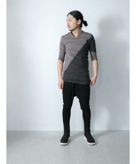 Thee OLD CIRCUS / 9186 /  ASYMMETRY LONG CUTSEW 3/4 SLEEVE / C.GRAY / MOCHA