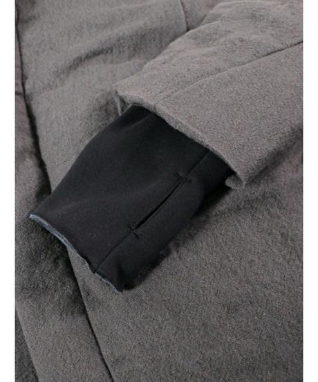 D.HYGEN / ST106-0321A  / Wool x Linen High-Neck Long Down Coat / CHARCOAL