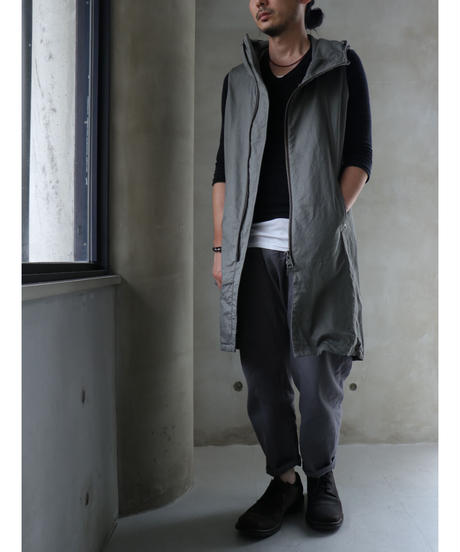 Thee OLD CIRCUS / 9131 / コードストレッチ ロングフードベスト / DUST KHAKI