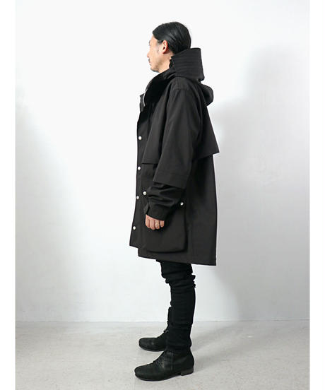A.F ARTEFACT / ag-4002  / Nylon × Fleece Bonding Hoodie Blouson / BLACK