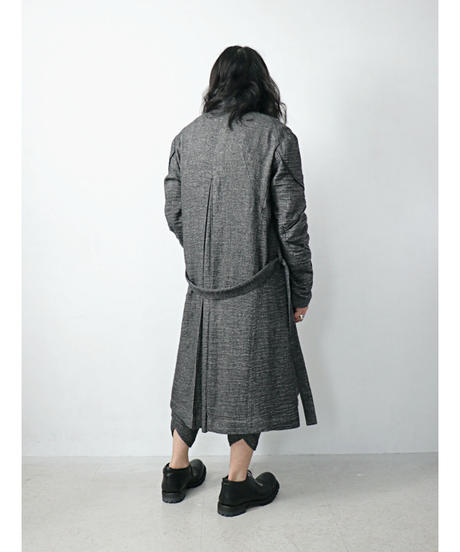 D.HYGEN / ST106-0121A  / Linen xRamie×Wool Washer Long Gown Coat / BLACK