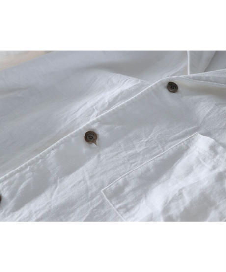 Thee OLD CIRCUS / 8136 / LINEN LONG SHOP SHIRTS  / WHITE