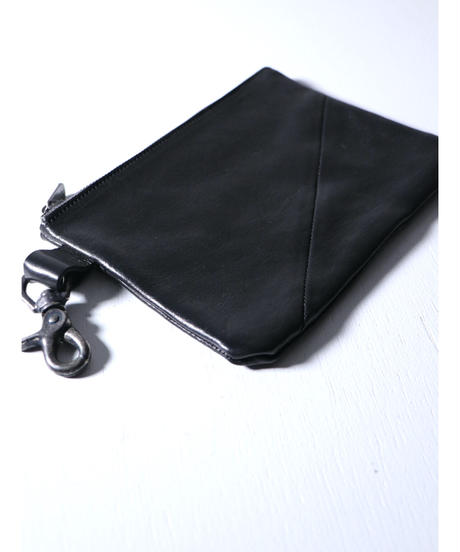 """Portaille / GP01-AS / Leather Pouch """"Hardwaxed Steer"""" / Black"""
