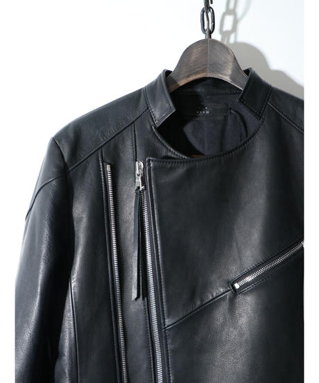 ASKYY / F3  / TWIN ZIP LEATHER JACKET / BLK