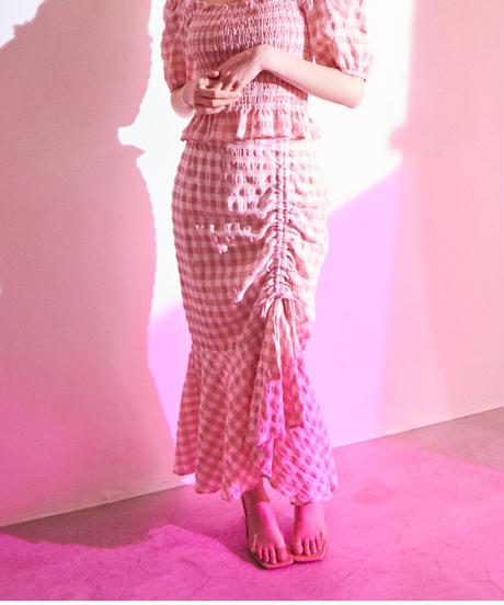 gingham check 2way mermaid skirt PINK